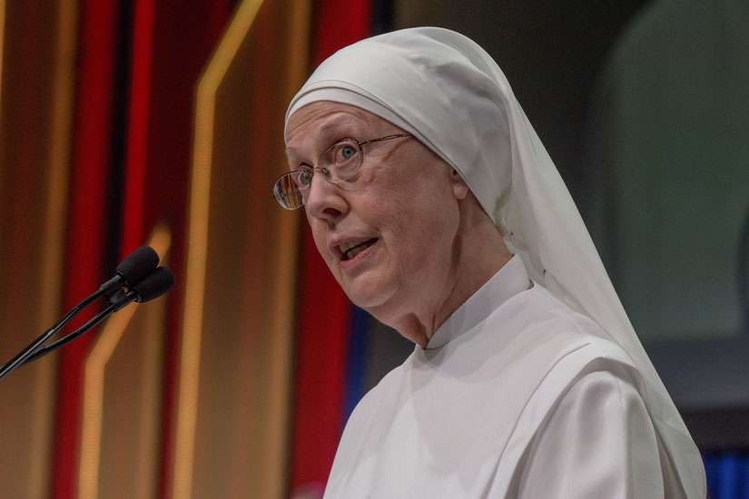Little Sisters of the Poor's mother provincial, Loraine Maguire, accepted the 12th Gaudium et Spes Award from the Knights of Columbus in Toronto, August 2.