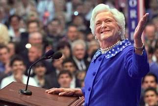 Former first lady Barbara Bush, the wife of one U.S. president and the mother of another, died April 17 at age 92 at her home in Houston. She is pictured in a 2002 photo.