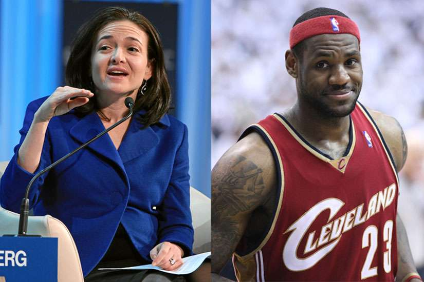 National Basketball Association superstar LeBron James, right, and Facebook chief operations officer Sheryl Sandberg has teamed up to promote gender equality.