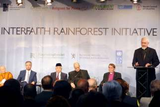 Metropolitan Emmanuel, right, of the Orthodox Church of France gives a speech during a meeting with religious leaders on ways to protect tropical rainforests from threats in Oslo, Norway, on June 19, 2017.