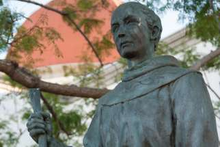 A statue of Blessed Junipero Serra is seen in 2012 outside Mission Basilica San Juan Capistrano in San Juan Capistrano, Calif. Pope Francis has announced that the friar will be canonized this year.