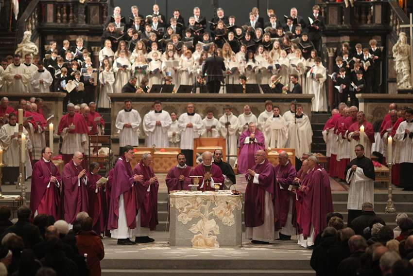 German bishops celebrate Mass in Trier Cathedral in this 2013 file photo.