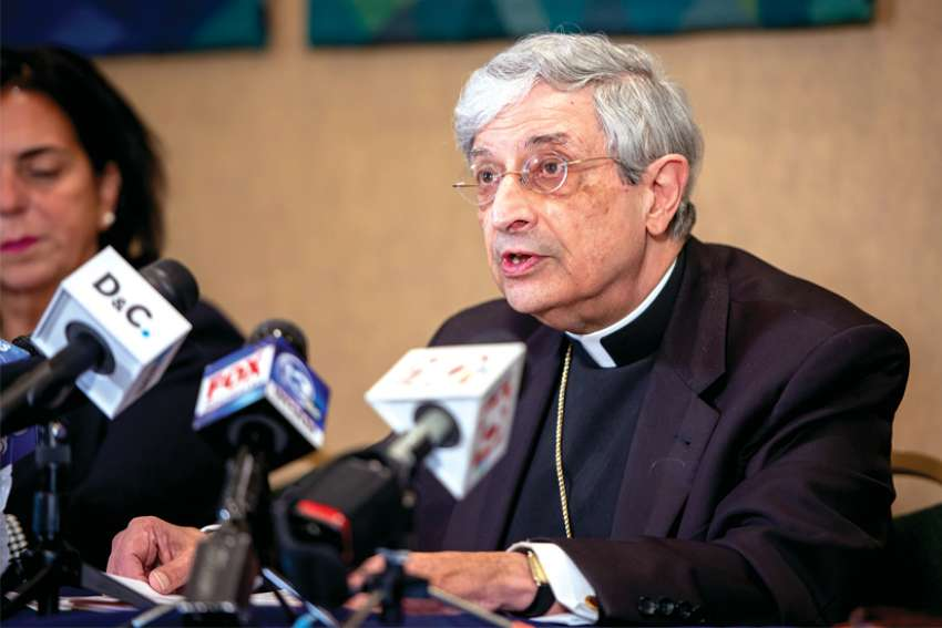 Bishop Salvatore Matano of Rochester, N.Y., speaks during a Sept. 12 news conference at the pastoral centre in Rochester after the diocese filed for reorganization under Chapter 11 of the U.S. Bankruptcy Code.