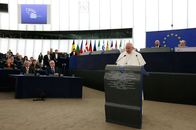 Pope Francis speaks at the European Parliament in Strasbourg, France, Nov. 25.