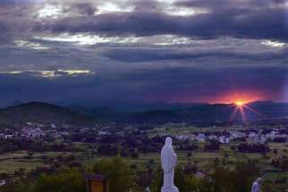 A night view from Apparition Hill in Medjugorje, Bosnia-Herzgovina.