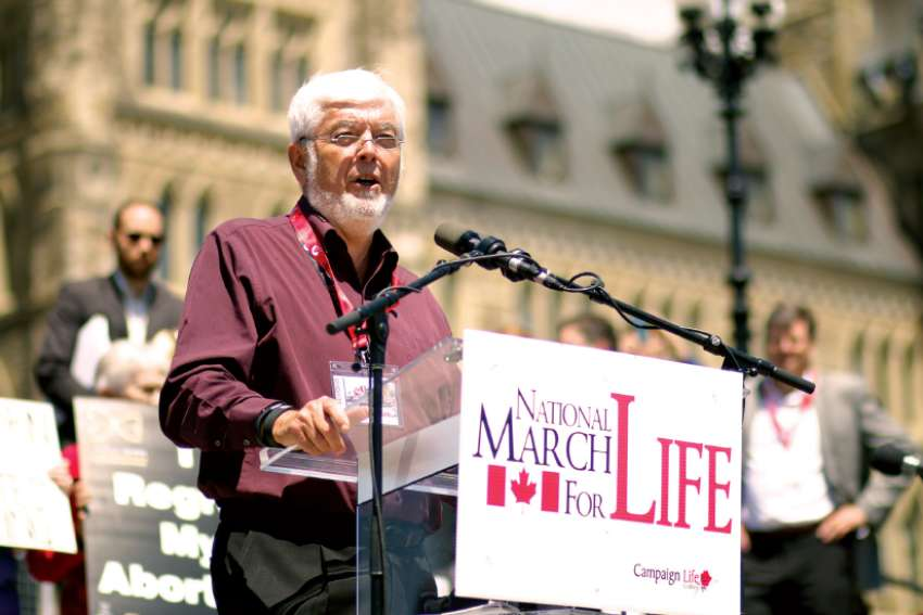Jim Hughes addresses the National March for Life in Ottawa in 2015.