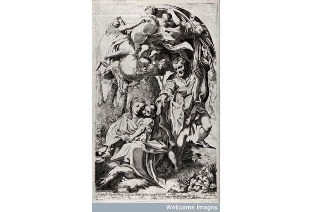 While the holy family rest on the way to Egypt, Joseph bends over a palm tree to provide them with dates. Engraving by F. Brivio after A. Allegri, il Correggio.