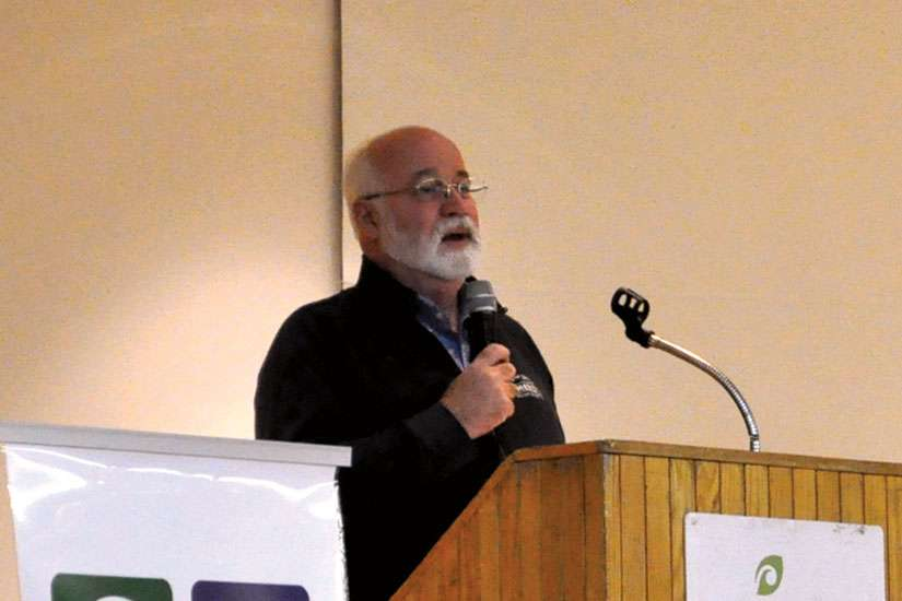 "Fr. Greg Boyle speaks at the ""From Service to Kinship"" conference in Toronto April 13."