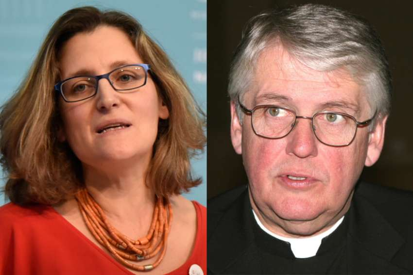 President of the Canadian bishops' conference Bishop Douglas Crosby of Hamilton, right, has denounced a speech by Canadian Foreign Minister Chrystia Freeland where she suggests that sexual reproductive rights have become a cornerstone of the nation's foreign policy.