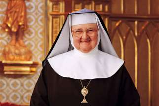 Mother Angelica, who spearheaded the founding of the Eternal Word Television Network, has been placed on a feeding tube as she continues to battle lingering effects of two strokes she suffered 14 years ago. She is pictured in an undated photo.