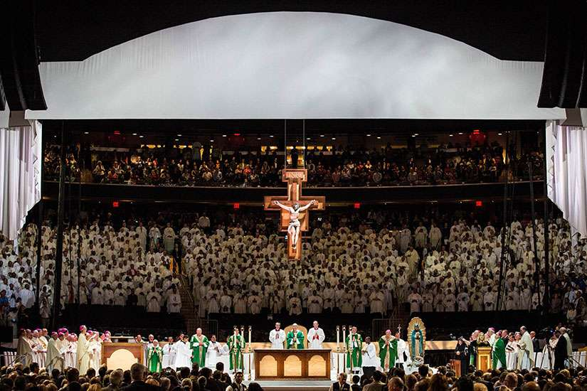 Pope Francis celebrates Mass at Madison Square Garden in New York Sept. 25, day four of his six-day visit to the United States.