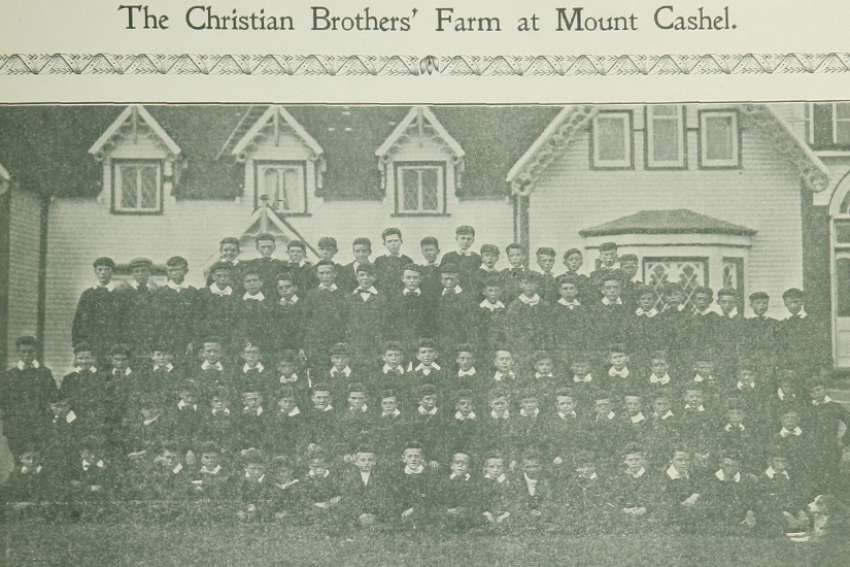 The Orphan Boys at Mount Cashel, St. Johns, who sowed, reaped and threshed 600 bushels of oats this year at Mount Cashel. - Newfoundland Quarterly, p. 17 (1909)