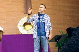 Chris Stefanick spoke to more than one thousand youth on Feb. 16 at St. Francis Xavier Church in Mississauga, Ont. This is the first year Stefanick has brought the Reboot! Live! youth conference tour to Canadian parishes
