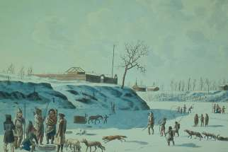 Rindisbacher, Winter Fishing on the Ice of the Assynoibain and Red River, watercolour, 1821.