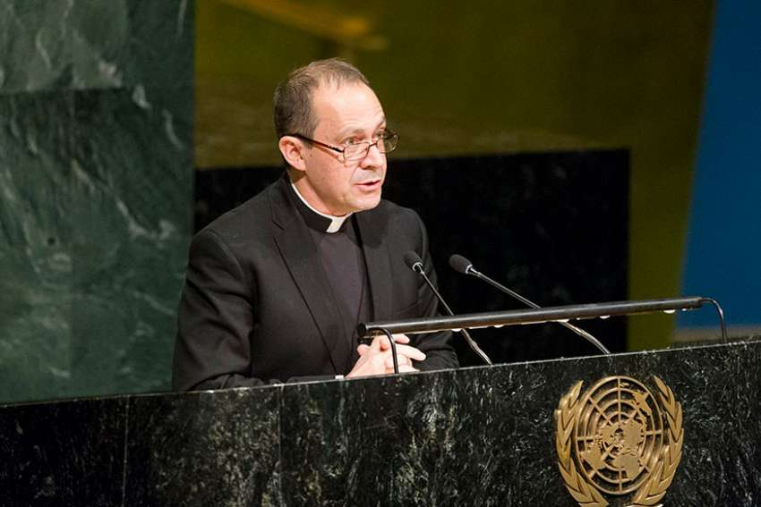 Msgr. Antoine Camilleri, Vatican undersecretary for relations with states, delivers a message from Pope Francis to a U.N. conference on nuclear weapons March 27 in New York City.