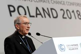 "Cardinal Pietro Parolin, Vatican secretary of state, speaks Dec. 3 during the U.N. Climate Change Conference in Katowice, Poland. The cardinal told participants ""We are standing before a challenge of civilization for the benefit of the common good."""