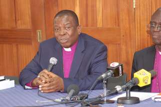 Archbishop Nicholas Okoh, left, of Nigeria and Archbishop Eliud Wabukala of Kenya speak at a recent news conference in Nairobi. The two provinces are boycotting the meeting in Lusaka, Zambia.