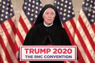 Sr. Deirdre Mary Byrne speaks during the Republican National Convention Aug. 26.