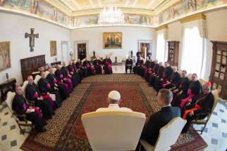 "Pope Francis meets with Canadian bishops from Ontario April 25 during their ""ad limina"" visits to the Vatican to report on the status of their dioceses."