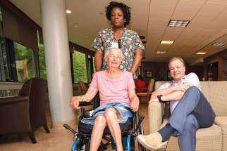 Nurse Ophelia Brown, palliative patient Barbara Rule and Dr. Richard Brodie at Toronto's Providence Healthcare.