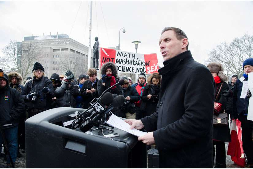 Progressive Conservative leader Patrick Brown speaks at a protest to the Liberals' sex-ed curriculum Feb. 24 at Queen's Park.
