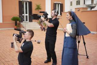 Sr. Helena Burns and crew in Italy filming Father James Alberione, a documentary on the founder of the Pauline Family, to be released Jan. 25.