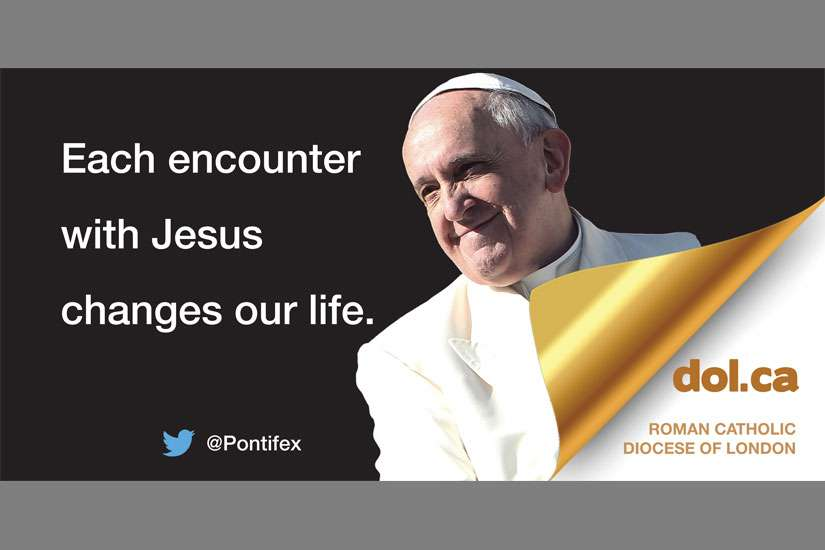 This is one of the billboards launched by the Diocese of London featuring one of Pope Francis' inspirational tweets.