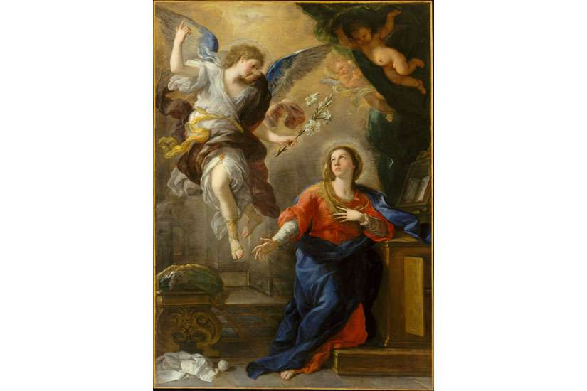 "When Mary said ""yes"" to carrying the Christ child in her womb, as seen in Luca Giordano's The Annunciation, mankind was on the way to salvation."