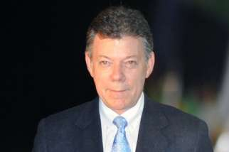 Pope Francis reassured Colombia president Juan Manuel Santos Calderon of prayers for peace.