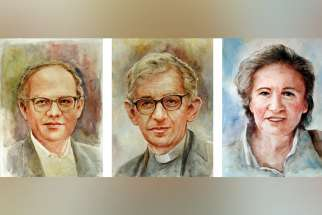 Xavier Missionary Fathers Ottorino Maule and Aldo Marchiol are pictured in a composite photo with lay volunteer Catina Gubert. An investigation into the sainthood cause of the three missionary martyrs killed in Burundi opened June 21, 2019.