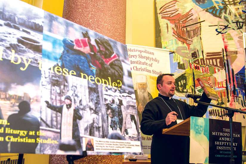 "Deacon Roman Zaviyskyy, from the Ukrainian Catholic University in Lviv, Ukraine, said for Russia, ""the very idea of Ukraine is an offense against the idea of east Slavic unity."" He spoke in Toronto Nov. 15 at a conference on Ukraine."