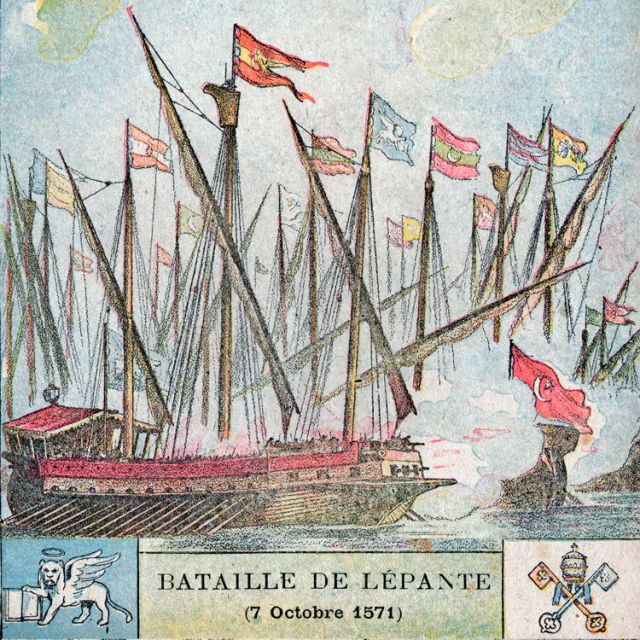 The 1571 Battle of Lepanto between the fleet of the Holy League -- a coalition that included the Papal States -- and the Ottoman Empire is depicted in an early 20th-century illustration. Historians believe the pontifical navy was established in the 10th century by Pope John VIII. Two symbols appear at the bottom of the illustration. The left one is associated with St. Mark the Evangelist and the right, the Vatican coat of arms.