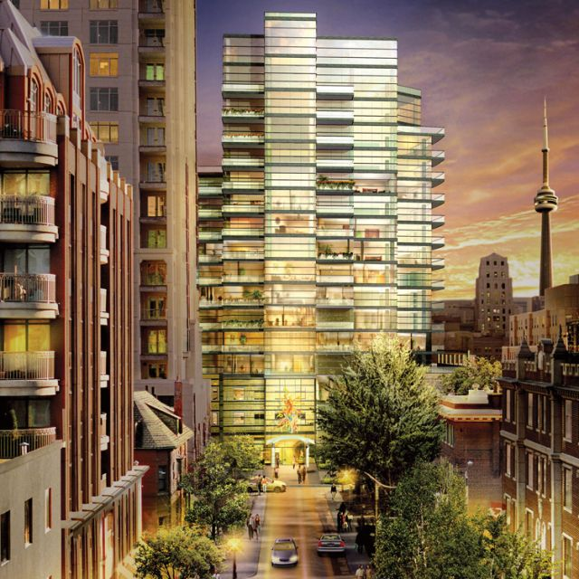 The architectural rendering of Kintore College, a new women's residence on the University of Toronto campus run by Opus Dei. Combined with a 13-storey high rise condominium, the residence will span four floors.