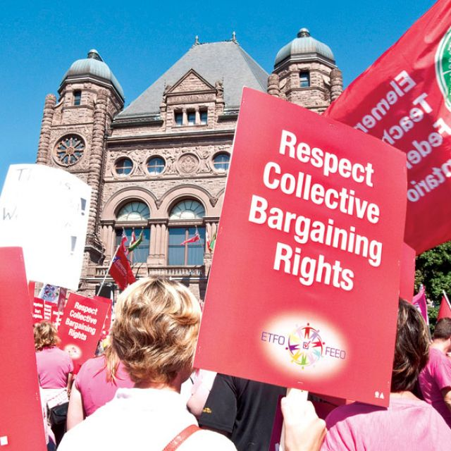 Teachers voice their disapproval of the province's Putting Students First Act at Queen's Park Aug. 28. The province introduced the legislation the day before.