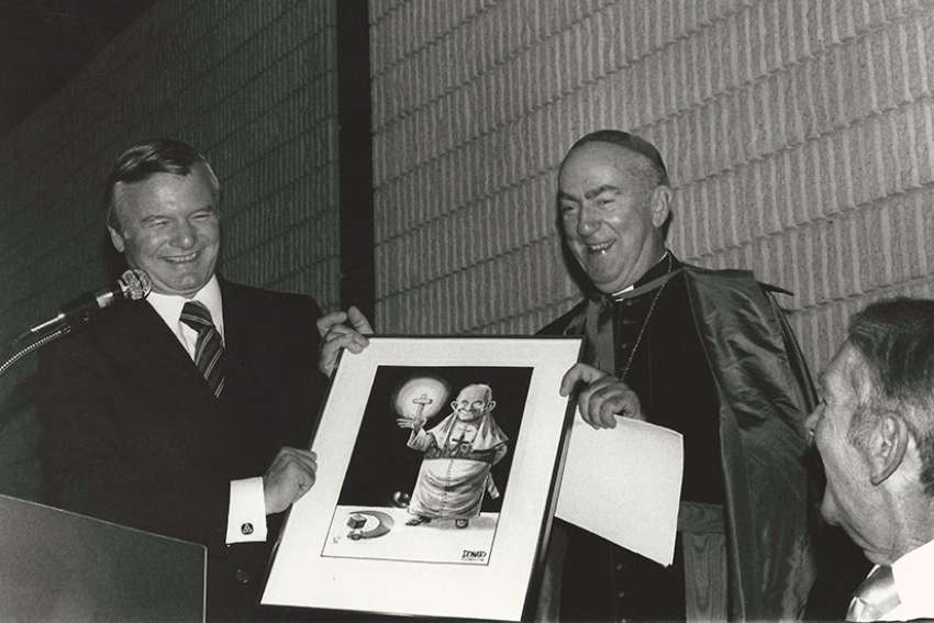 Ontario Premier Bill Davis and Cardinal Gerald Emmett Carter are all smiles during this dinner to honour the cardinal in 1979. The controversial issue of school funding was an oft-raised topic in their ongoing conversations over the years, culminating in the 1984 decision to fully fund Catholic schools.