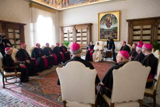 "Pope Francis meets with U.S. bishops from Iowa, Kansas, Missouri and Nebraska during their ""ad limina"" visits to the Vatican Jan. 16, 2020. The bishops were making their ""ad limina"" visits to the Vatican to report on the status of their dioceses to the pope and Vatican officials."