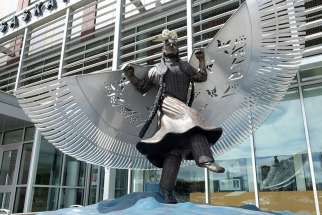 A life-sized bronze monument honouring missing and murdered indigenous women and girls was recently unveiled near the main entrance of Saskatoon police headquarters. Created by artist Lionel Peyachew, the sculpture depicts Red Star Woman, a fancy dancer with her shawl as wings