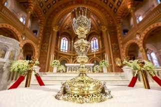 "A chalice is seen at a Catholic church in Bangkok Nov. 12, 2019, ahead of Pope Francis' visit. The Congregation for Divine Worship and the Sacraments has approved a special ""Mass in the Time of Pandemic"" during the COVID-19 crisis."