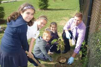 At St. Matthew Catholic Elementary School in Binbrook, near Hamilton, students plant trees as part of their ecological education. All schools In the Hamilton-Wentworth Catholic board are EcoSchool certified.