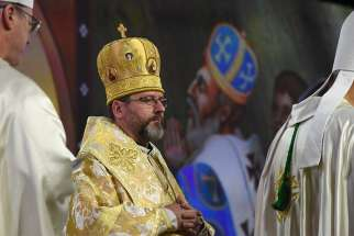 Major Archbishop Sviatoslav Shevchuk of Kiev-Halych, Ukraine, who is head of the Ukrainian Catholic Church, concelebrates Mass Aug. 8 during the 136th Supreme Convention of the Knights of Columbus in Baltimore.