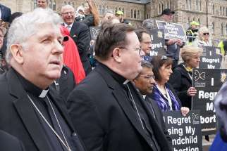 Toronto Cardinal Thomas Collins and Quebec City Cardinal Gerald Cyprien Lacroix are seen during the March for Life in Ottawa, Ontario, March 10.