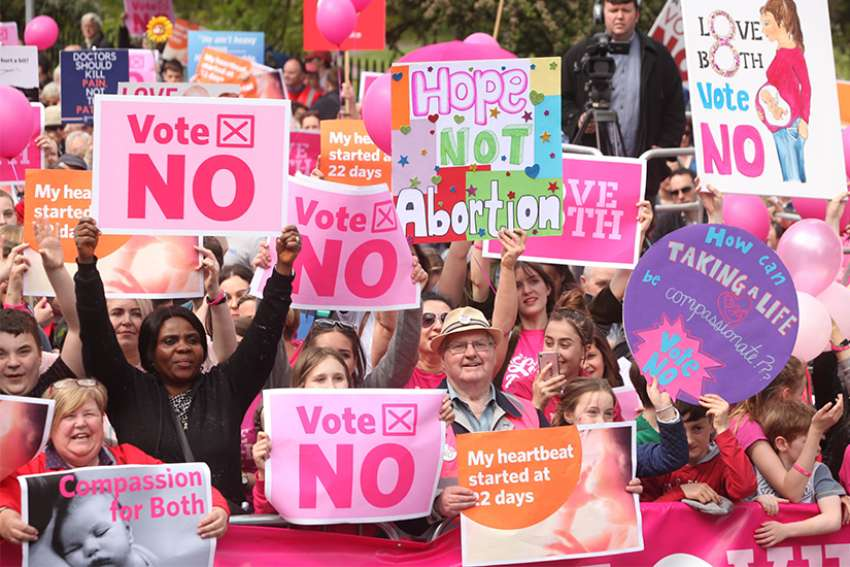 "Thousands gathered in Dublin May 12 to say ""Love Both"" and ""Vote No"" to abortion on demand. They were protesting abortion on demand in the forthcoming referendum May 25."