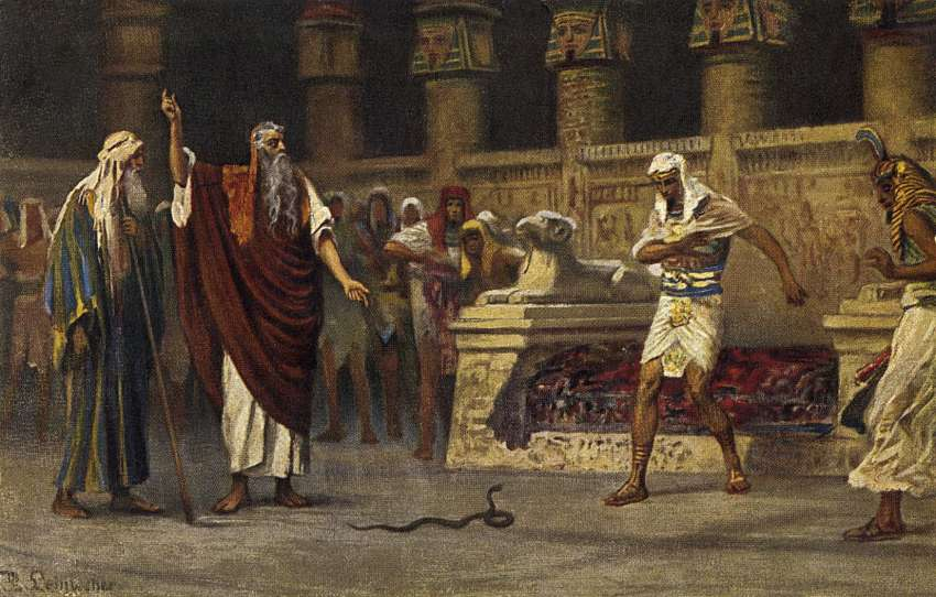 Moses and Aaron meet Pharaoh and Aaron turns his rod into a snake.