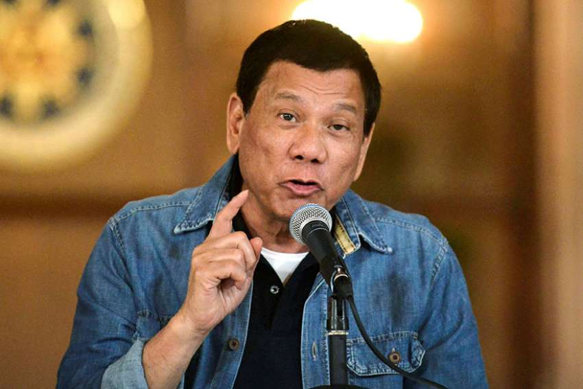 "Philippine President Rodrigo Duterte announces the disbandment of police operations against illegal drugs Jan. 30 in Manila. The case filed against Duterte before the International Criminal Court in The Hague is a ""very good step"" toward stopping drug-related killings, a Catholic bishop said."