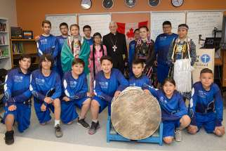 Members of the Buffalo Boys drum corps from Mother Teresa Middle School with Superior General of the Jesuits, Fr. Arturo Sosa.
