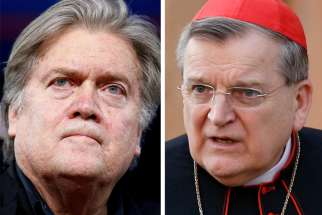 Stephen Bannon, former White House chief strategist, and U.S. Cardinal Raymond L. Burke are seen in this composite photo. Cardinal Burke is honorary president of the institute and Bannon is a patron and member of the board of trustees.