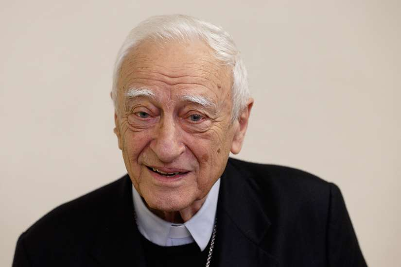 Retired Italian Bishop Luigi Bettazzi of Ivrea, Italy, is pictured during a press conference at Vatican Radio Nov. 12. Bishop Bettazzi, 92, is the last surviving bishop of the 42 members of the Second Vatican Council who signed a pact in 1965 in the Catacombs of Domatilla promising to live simply and close to the poor.