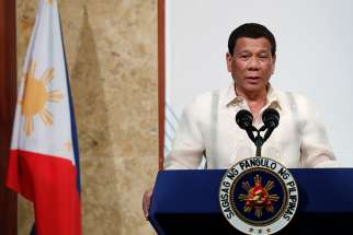 "Philippine President Rodrigo Duterte is seen in Seoul, South Korea, June 5. During a technology summit in the southern city of Davao, Philippines, June 22, he questioned how Adam and Eve brought about ""original sin."""