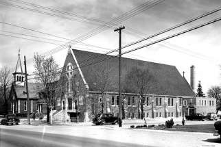 The old — at the left — and new (circa 1953) churches of St. Mary Star of the Sea parish in Port Credit, now part of Mississauga, Ont. The parish celebrates its centenary this year.