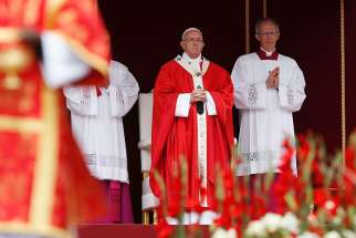 Pope Francis celebrates Mass marking the feast of Pentecost in St. Peter's Square at the Vatican June 4.